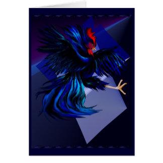 Tarjeta negra del gallo que lucha