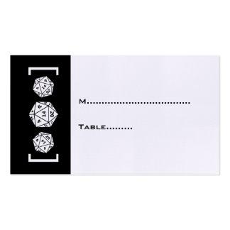 Tarjeta negra del lugar del boda del videojugador tarjetas de visita