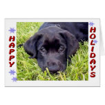 Tarjeta negra del perrito del laboratorio buenas f