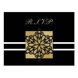 tarjeta negra del rsvp del boda del invierno tarjeta postal