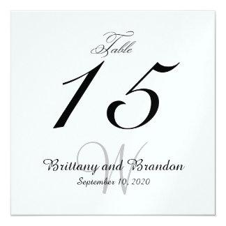 """Tarjeta negra gris del número de la tabla del invitación 5.25"""" x 5.25"""""""