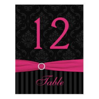 Tarjeta negra gris rosada del número de la tabla d tarjetas postales