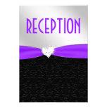 Tarjeta negra púrpura de la recepción del diamante anuncios personalizados