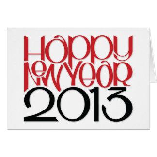 Tarjeta negra roja de la Feliz Año Nuevo 2013