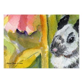 Tarjeta negra y blanca del arte del ATC del coneji Plantillas De Tarjeta De Negocio