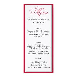 """Tarjeta negra y blanca roja elegante del menú del invitación 4"""" x 9.25"""""""