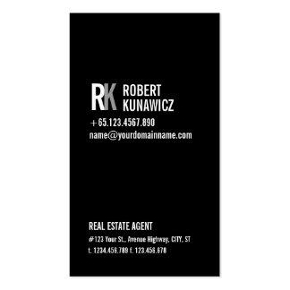 Tarjeta negra y blanca simple moderna tarjetas de visita