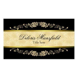 Tarjeta negra y del moreno elegante del damasco de tarjetas de visita