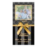 Tarjeta negra y gris de la foto de la cinta del or tarjetas fotográficas personalizadas