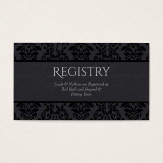 Tarjeta negra y gris del registro del boda del tarjetas de visita