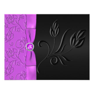 Tarjeta negra y púrpura Jeweled de RSVP Invitación