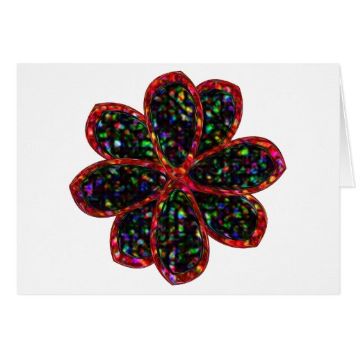 Tarjeta negra y roja de la flor del brillo