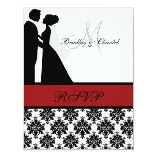 Tarjeta negra y roja de RSVP de los pares del boda Invitacion Personalizada
