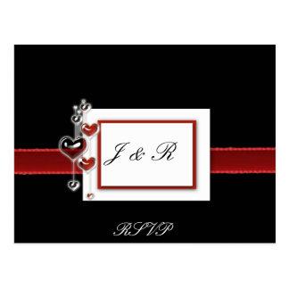 Tarjeta negra y roja de RSVP Tarjeta Postal