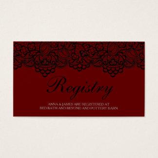 Tarjeta negra y roja del registro del boda del tarjetas de visita