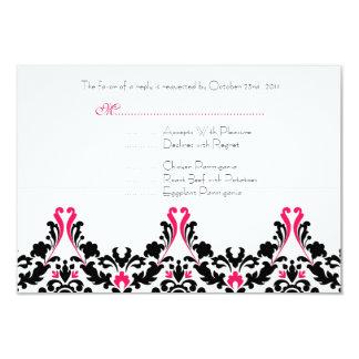 """Tarjeta negra y rosada de la respuesta del boda invitación 3.5"""" x 5"""""""