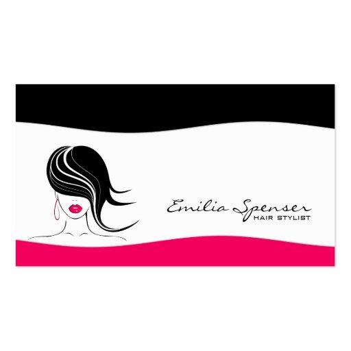 Tarjeta negra y rosada llana simple del estilista  tarjetas de visita