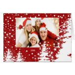 Tarjeta nevada de la foto del navidad de la famili