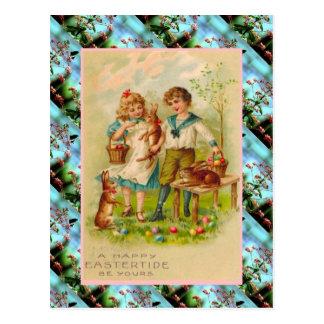 Tarjeta, niños y huevos de pascua del vintage de l tarjeta postal