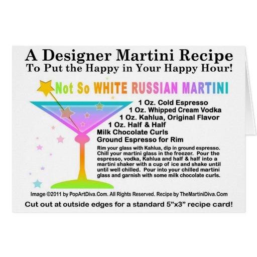 Tarjeta no tan blanca de la receta de Martini del