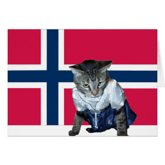 """Tarjeta noruega del gato del dagen del MED de Gra"