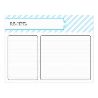 Tarjeta nupcial de la receta - azul tarjetas postales