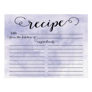 Tarjeta nupcial de la receta de la ducha de la postales
