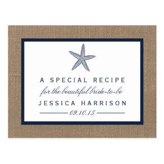 Tarjeta nupcial de la receta de la ducha de la tarjetas postales