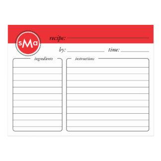 Tarjeta nupcial de la receta de la ducha del monog tarjetas postales