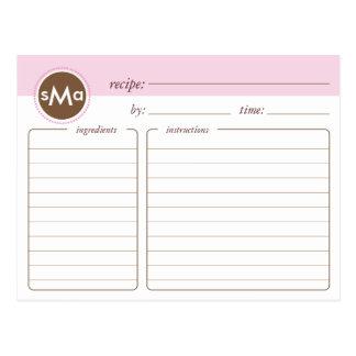 Tarjeta nupcial de la receta de la ducha del monog tarjeta postal