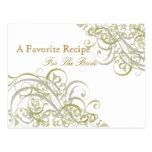 Tarjeta nupcial de la receta de la ducha del oro postal