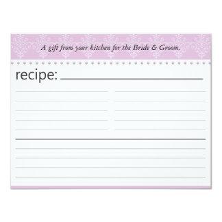"""Tarjeta nupcial de la receta de la ducha invitación 4.25"""" x 5.5"""""""