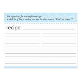Tarjeta nupcial de la receta de la ducha postal