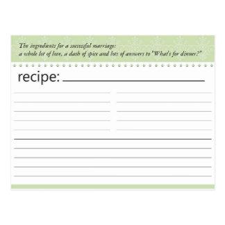 Tarjeta nupcial de la receta de la ducha postales