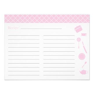 Tarjeta nupcial de la receta de la ducha - rosa