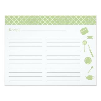 """Tarjeta nupcial de la receta de la ducha - verde invitación 4.25"""" x 5.5"""""""
