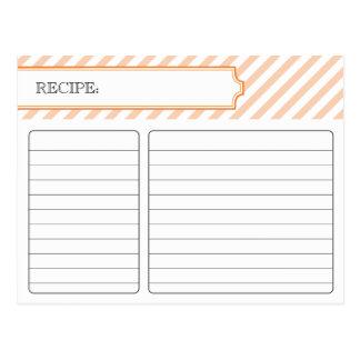 Tarjeta nupcial de la receta - naranja tarjeta postal