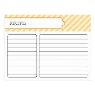 Tarjeta nupcial de la receta - naranja y amarillo tarjetas postales
