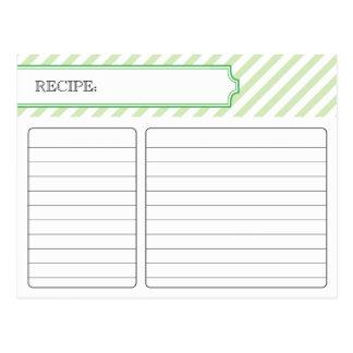 Tarjeta nupcial de la receta - verde postal