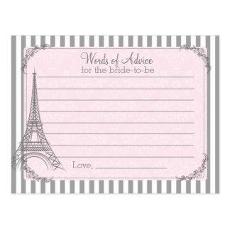Tarjeta nupcial del consejo de la ducha de París Tarjetas Postales