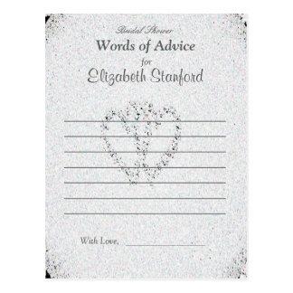 Tarjeta nupcial del consejo de la ducha del brillo tarjetas postales