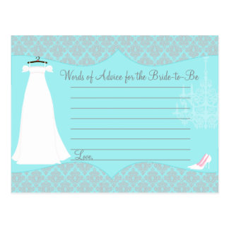 Tarjeta nupcial del consejo de la ducha del tarjeta postal