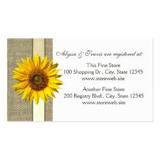 Tarjeta nupcial del registro de la arpillera y del tarjetas de visita