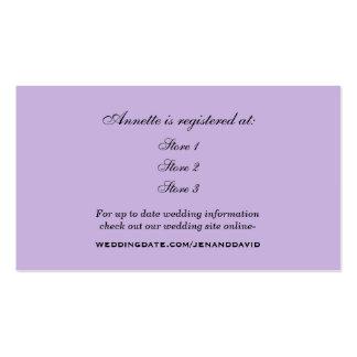 Tarjeta nupcial del registro de la ducha de la tarjetas de visita