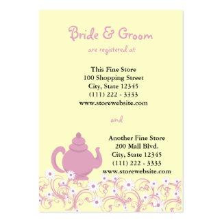 Tarjeta nupcial del registro de la fiesta del té tarjetas de visita grandes