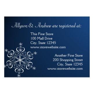 Tarjeta nupcial del registro del copo de nieve tarjetas de visita grandes