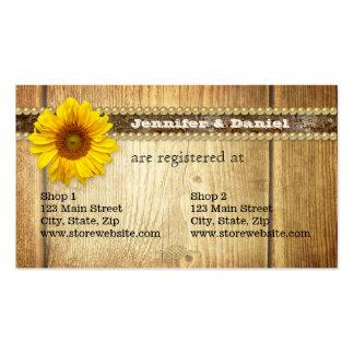 Tarjeta nupcial del registro del girasol rústico tarjetas de visita