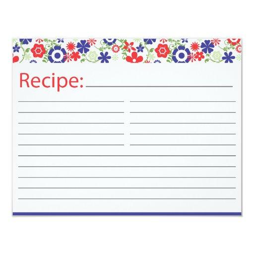 Tarjeta nupcial el | de la receta rojo y marina de comunicado personalizado