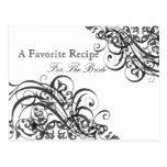 Tarjeta nupcial exquisita de la receta de la ducha postales