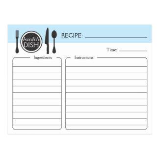 Tarjeta nupcial personalizada de la receta de la d postal